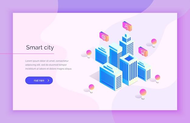 Smart city edifici futuristici su uno sfondo astratto