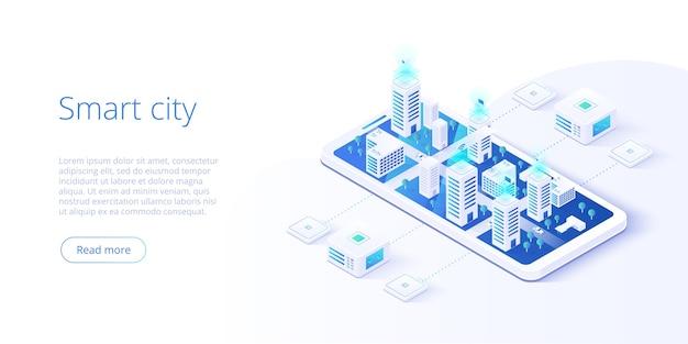 Città intelligente o concetto isometrico di edificio intelligente.