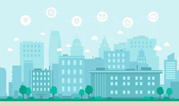 Illustrazione piana di vettore di concetto astuto di tecnologia di internet della città.