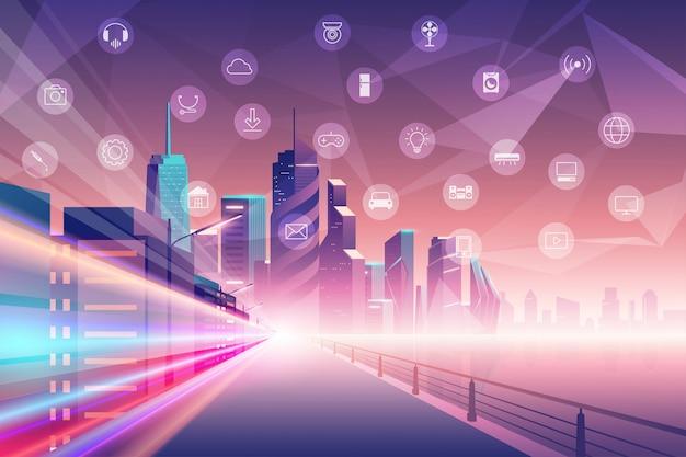 Città intelligente e concetto di design piatto di internet delle cose, paesaggio urbano con servizi intelligenti e illustrazione delle icone di cose.