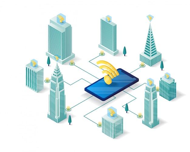 Progettazione isometrica dell'illustrazione della città astuta