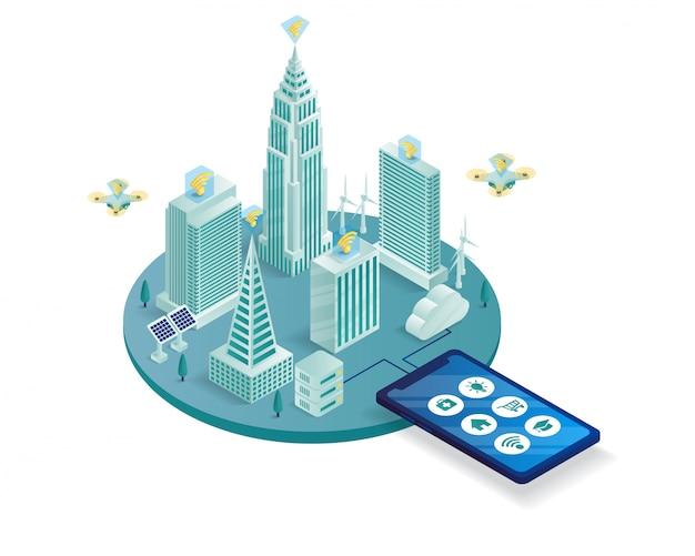 Illustrazione isometrica della città intelligente