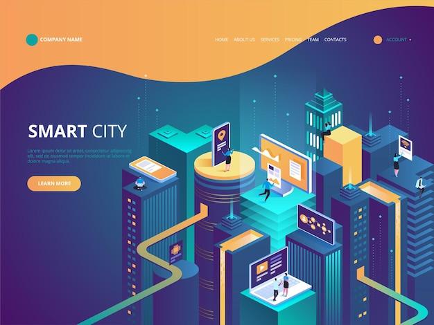 Isometrica della città intelligente. edifici intelligenti. strade della città collegate alla rete di computer. internet delle cose concetto. centro affari con grattacieli.