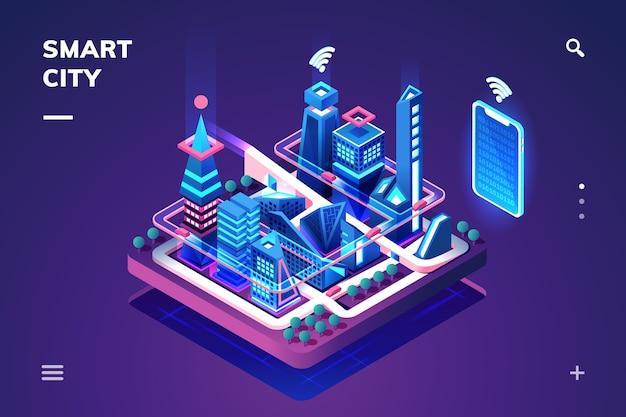 Città intelligente o città isometrica.