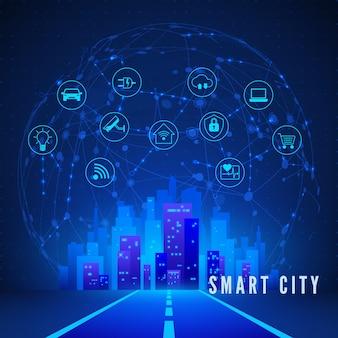 Set di icone di monitoraggio e controllo del sistema e del paesaggio della città intelligente