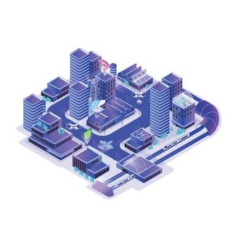 Modello di città intelligente isolato su bianco