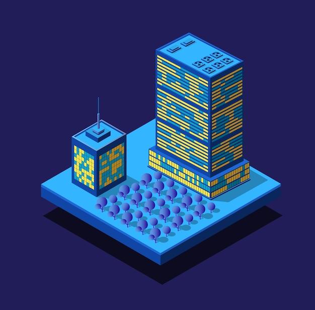 Insieme ultravioletto al neon di notte della città intelligente di case di edifici isometrici