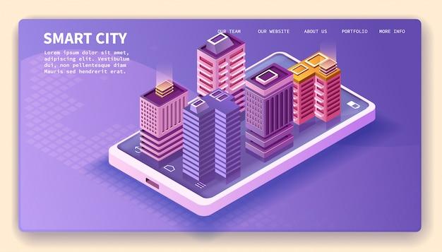 Smart city, smartphone ed edifici isometrici, disegno vettoriale della pagina di destinazione.