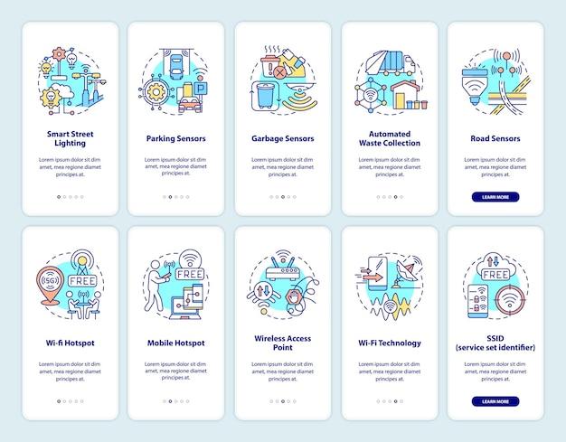 Set di schermate della pagina dell'app mobile a bordo delle tecnologie smart city. procedura dettagliata del sistema di controllo intelligente 5 passaggi istruzioni grafiche con concetti. modello vettoriale ui, ux, gui con illustrazioni a colori lineari