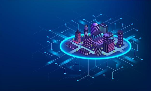 Concetto di tecnologia della città intelligente. edifici futuristici con comunicazioni digitali, sistema di gestione intelligente della città.