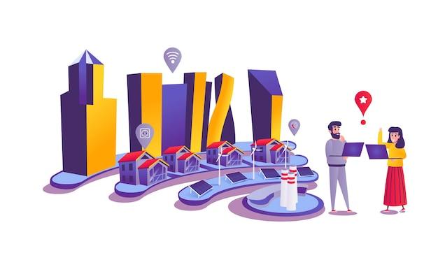 Concetto di web città intelligente in stile cartone animato