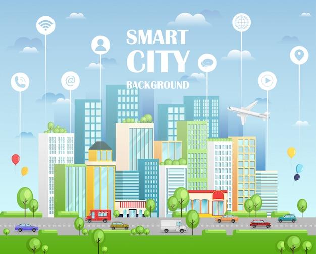 Città intelligente con servizi intelligenti e icone. paesaggio urbano con edifici, grattacieli e traffico di trasporto.