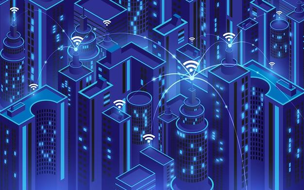 Città intelligente con connessione wi-fi concettuale, concetto di tecnologia di comunicazione delle informazioni