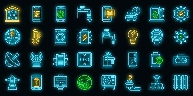 Icone di consumo intelligente impostate vettore neon