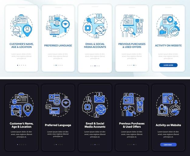 Modello di onboarding per l'analisi dei contenuti intelligenti. sito web mobile reattivo con icone