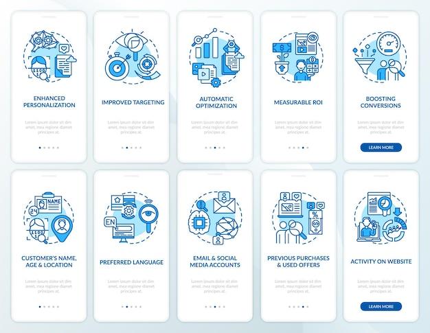 Set di schermate della pagina dell'app mobile di onboarding blu con contenuti intelligenti