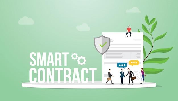 Concetto di contratto intelligente con grandi parole squadra persone e documento cartaceo