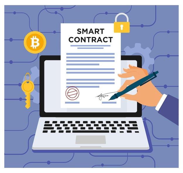 Smart contract contratto digitale in design piatto