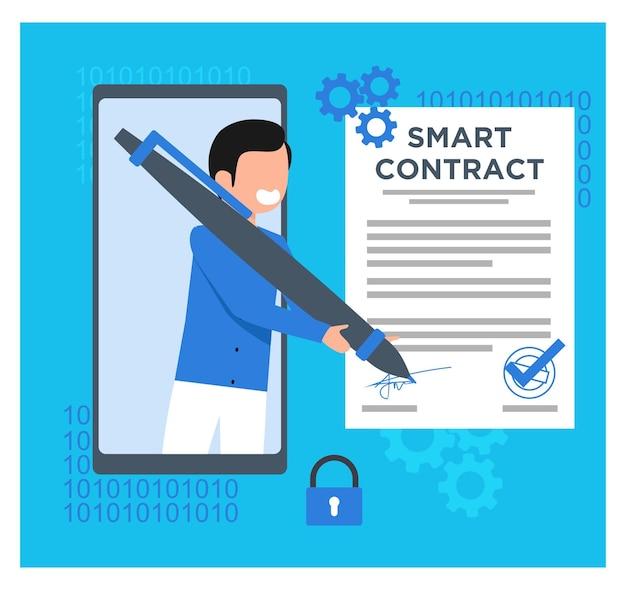 Smart contract digital flat concept