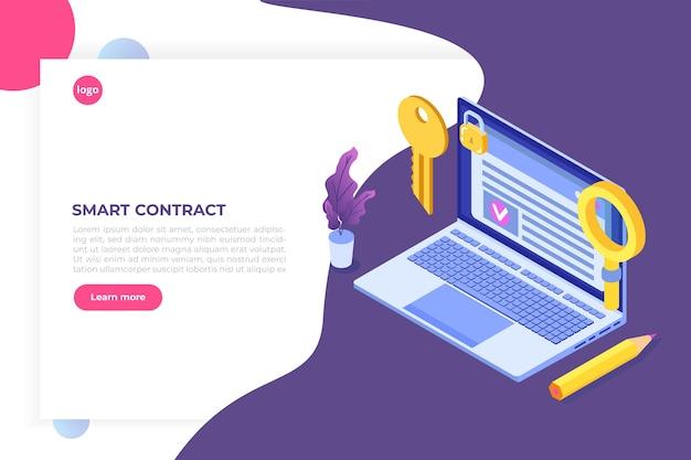 Contratto intelligente, concetto isometrico di firma digitale. tecnologia blockchain.