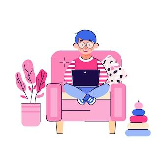 Personaggio dei cartoni animati del ragazzo sveglio intelligente del bambino che si siede nella sedia con il computer portatile, illustrazione piana isolata su fondo bianco. personaggio per l'educazione domiciliare a distanza.