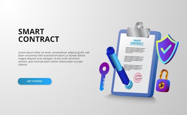 Contratto digitale intelligente per la privacy di protezione della sicurezza con appunti di carta illustrazione 3d e stilo penna