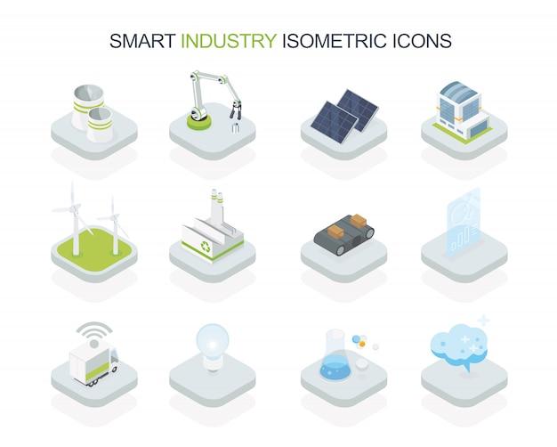 Icona isometrica industriale intelligente eco semplice progettata Vettore Premium