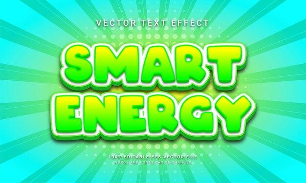 Effetto di testo modificabile di energia intelligente con tema di colore verde