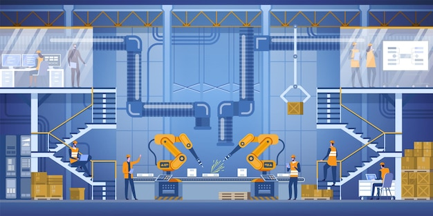 Interni di fabbrica intelligente con bracci robotici, operai e ingegneri