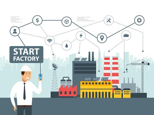 Icone smart factory e di rete. ingegnere che avvia un impianto intelligente. smartphone online controlla i big data. illustrazione vettoriale.