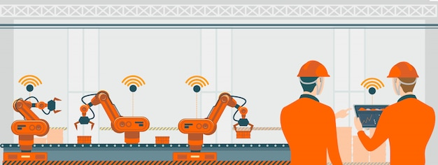 Fabbrica astuta con i robot dei lavoratori e l'illustrazione di concetto di tecnologia della catena di montaggio.