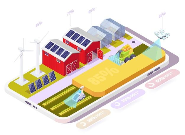 Smart farm nell'illustrazione isometrica di vettore dello smartphone tecnologie iot telecomando senza fili in un...