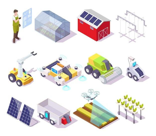 Set di icone isometriche vettoriali di fattoria intelligente agricoltore drone serra pannello solare robotica agricola autom...