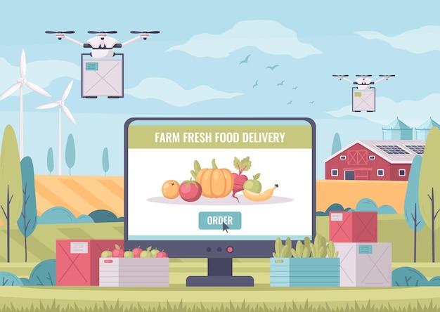Composizione di cartoni animati agricoli intelligenti con paesaggio all'aperto e computer con consegna di cibo fresco