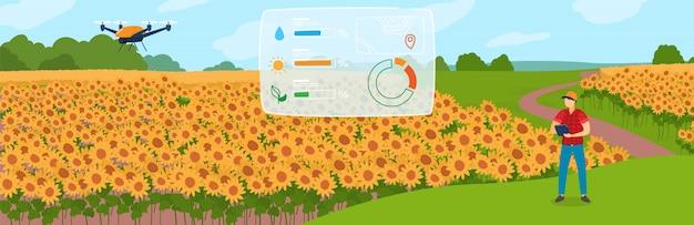 Illustrazione astuta di concetto di agricoltura, carattere piano del coltivatore del fumetto facendo uso del fuco del robot agricolo per il controllo della pianta sul campo dell'azienda agricola