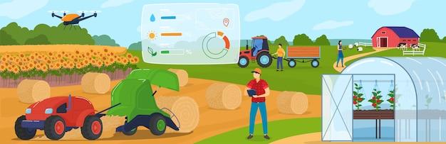 Agricoltura intelligente, tecnologia di agricoltura e sistemi di controllo, illustrazione del fumetto di internet delle cose.