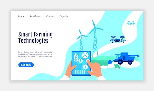 Modello di vettore di colore piatto della pagina di destinazione delle tecnologie di agricoltura intelligente. layout della home page della serra. interfaccia del sito web di una pagina di allevamento con l'illustrazione del fumetto. banner web di agricoltura digitale, pagina web