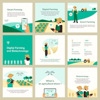 Modelli di post sui social media modificabili vettoriali per l'agricoltura intelligente