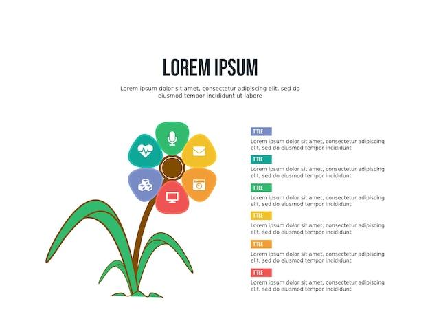 Modello di presentazione di infografica e statistiche di presentazione di sfondo floreale intelligente