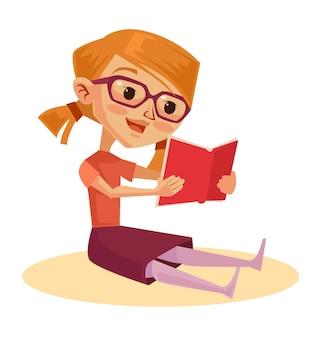Il carattere della ragazza intelligente legge il libro. cartone animato
