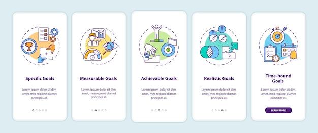 Definizione degli obiettivi intelligenti nella schermata della pagina dell'app mobile con concetti