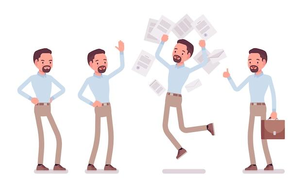 Intelligente uomo di mezza età felice in camicia abbottonata e pantaloni chino skinny color cammello in emozioni positive. tendenza abbigliamento da lavoro alla moda e moda città ufficio. illustrazione del fumetto di stile