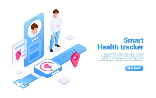 Smart health tracker concept gadget intelligenti per tracciare gli indicatori fisici del corpo digita