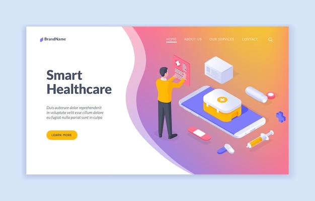 Sanità intelligente banner vettoriale isometrico che offre informazioni sull'assistenza sanitaria intelligente