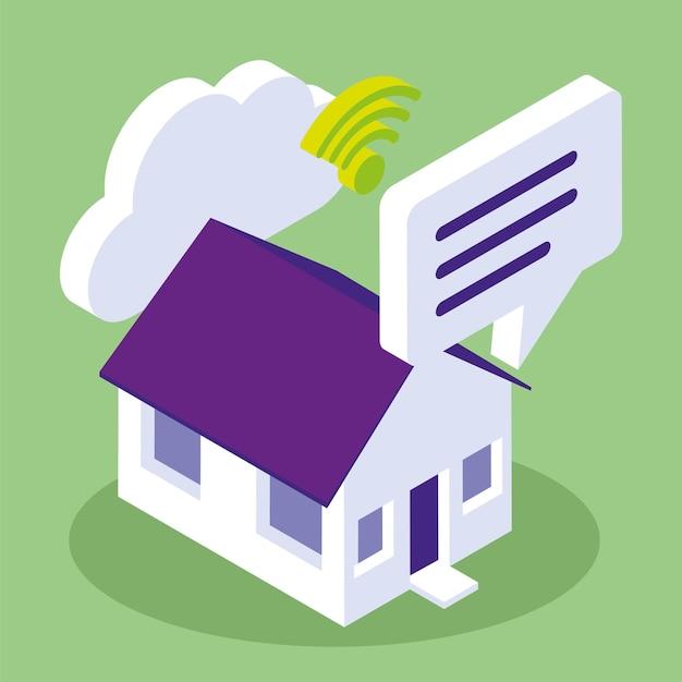 Casa intelligente connessa a internet isometrica
