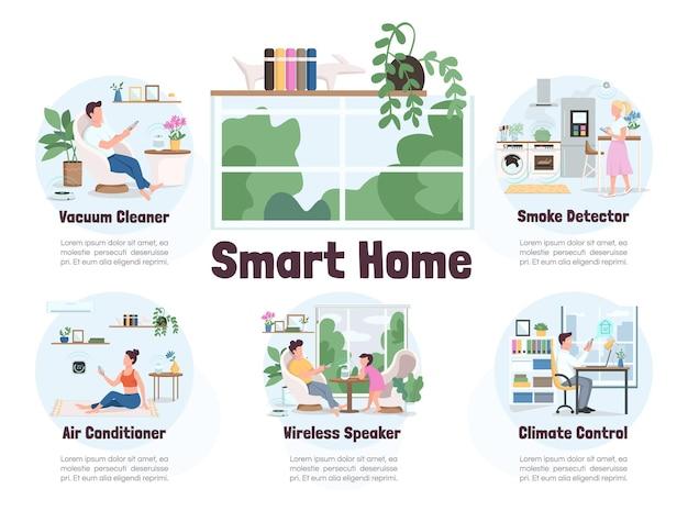 Modello di infografica informativo di colore piatto casa intelligente.