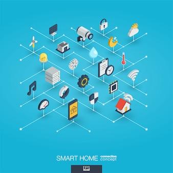 Icone di web 3d integrate casa intelligente. concetto di interazione isometrica della rete digitale.