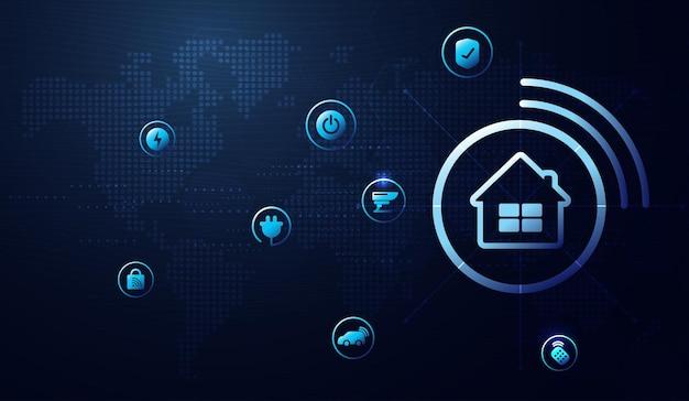 Icone dell'interfaccia della casa intelligente nell'interno della stanza. controllo del concetto e tecnologia moderna su uno schermo virtuale, l'utente tocca un pulsante. disegno vettoriale.