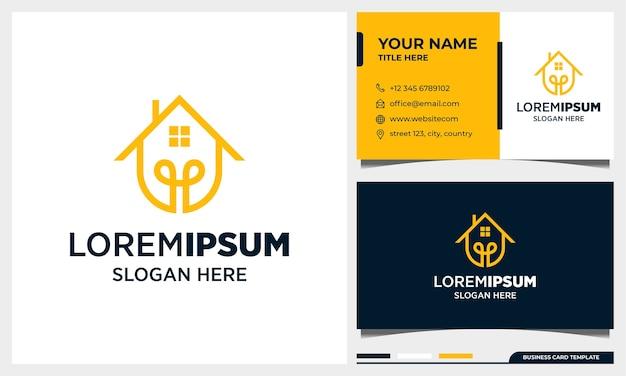 Design del logo in stile arte linea casa intelligente con modello di biglietto da visita