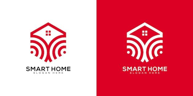 Modello di progettazione di vettore di logo di casa intelligente